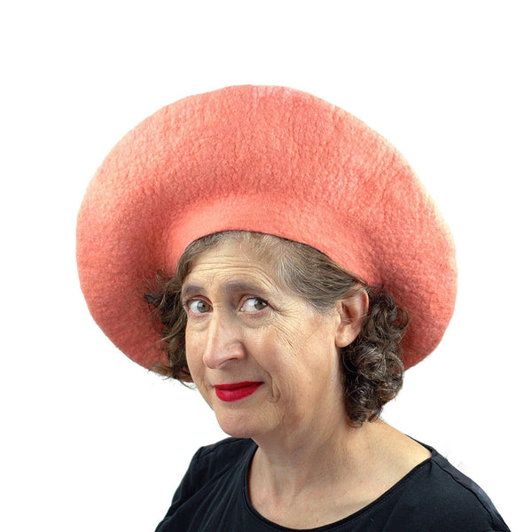 Dramatic Felted Grapefruit Hat - three quarters view