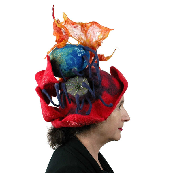 Earth on Fire Poppy Headdress - side view