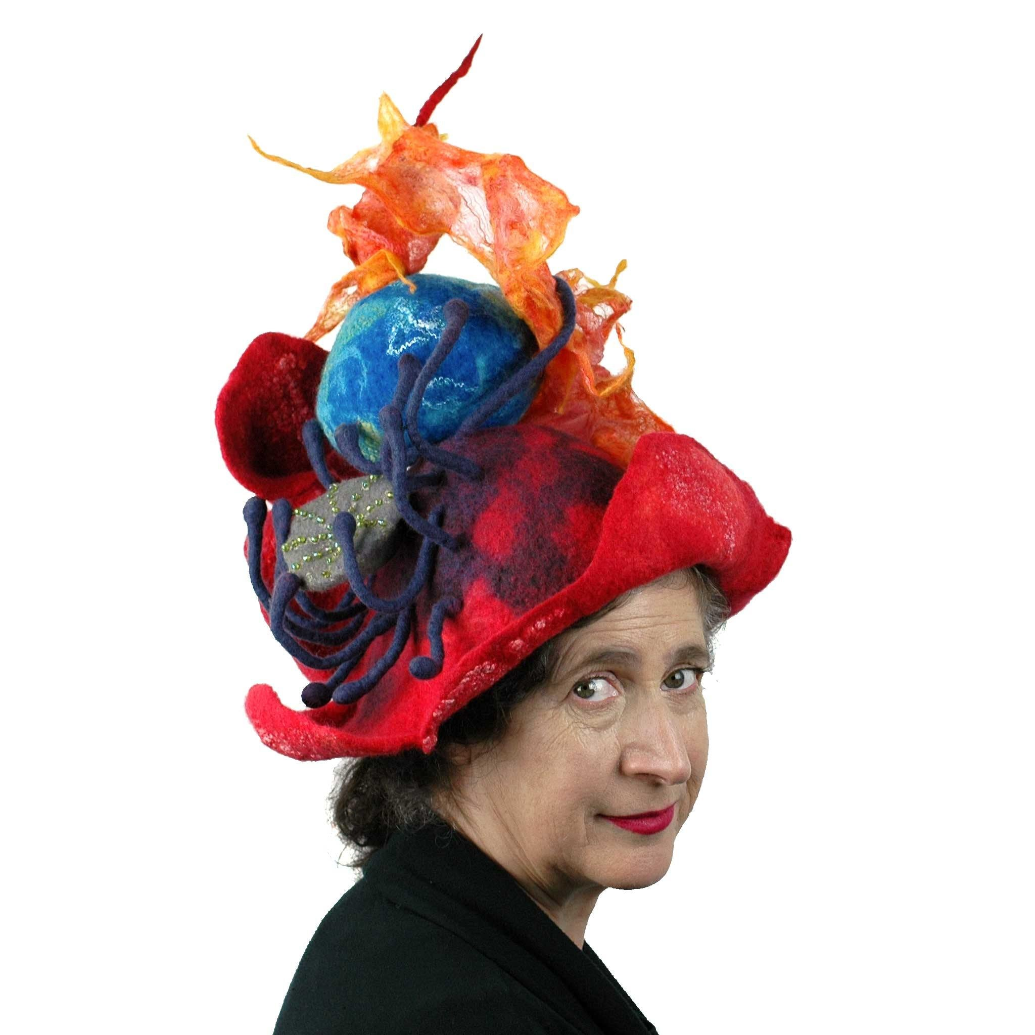 Earth on Fire Poppy Headdress - three quarters view