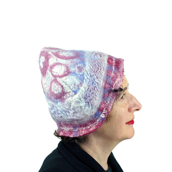 Egg Shaped Pastel Colored Felted Hat -side view