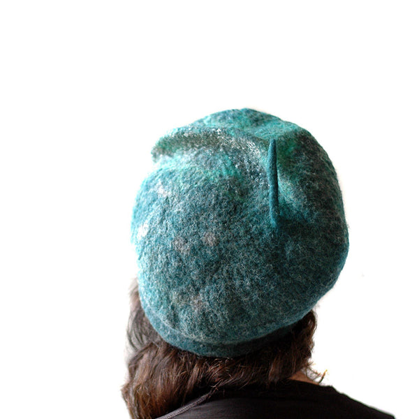 Emerald Green Beret with Silver - back view