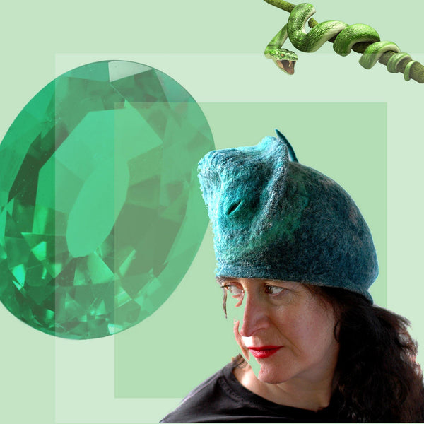 Emerald Green Beret with gem and snake collage.
