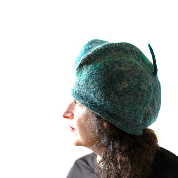 Emerald Green Beret with Silver - side view