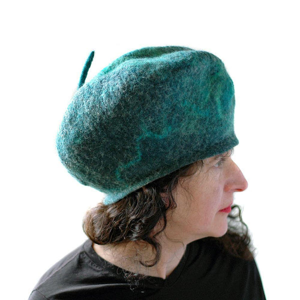 Emerald Green Beret with Silver - side view 2