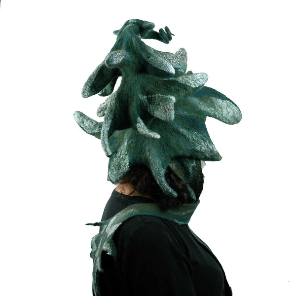 Fairytale Green and White Felted Pine Tree Hat with Scarf Ties - back view