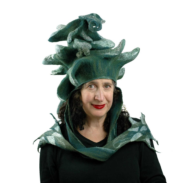 Fairytale Green and White Felted Pine Tree Hat with Scarf Ties - front view