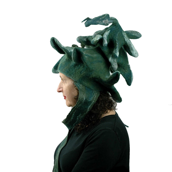 Fairytale Green and White Felted Pine Tree Hat with Scarf Ties - side view