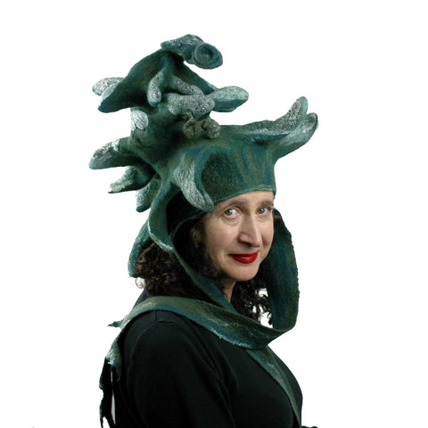 Fairytale Green and White Felted Pine Tree Hat with Scarf Ties - threequarters view
