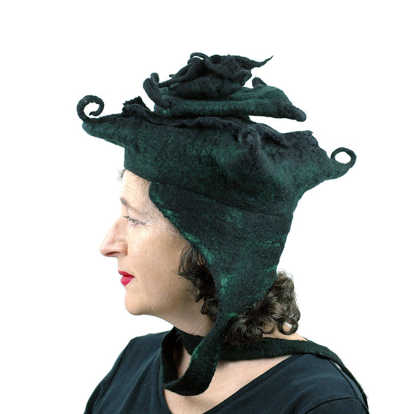 Fantasy Felted Pagoda Hat with Corner Curlicues - side view