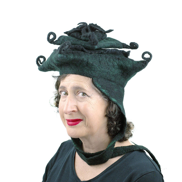 Fantasy Felted Pagoda Hat with Corner Curlicues - threequarters view