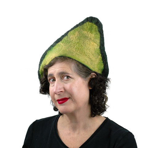 Felted Avocado Hat - threequarters view