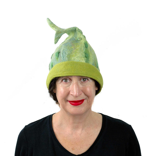 Felted Beanie Hat in Lime Green Wool - Large Size -front view