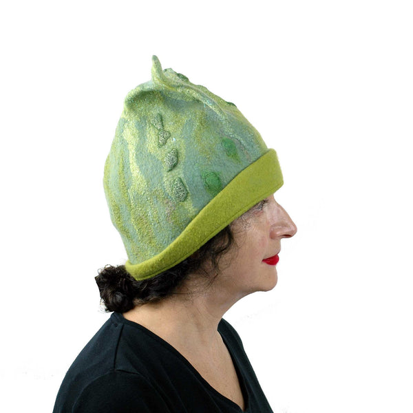 Felted Beanie Hat in Lime Green Wool - Large Size -sideview