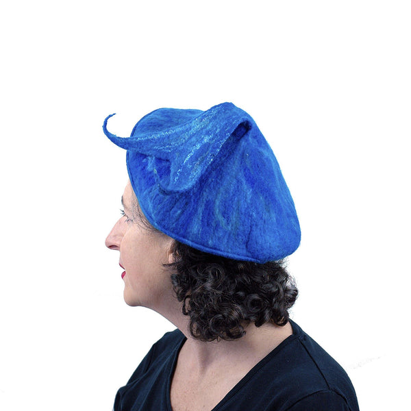 Felted Blue Beret with Fishtail Bobble - side view