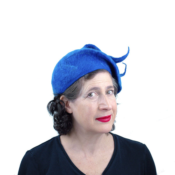 Felted Blue Beret with Fishtail Bobble - threequarters view