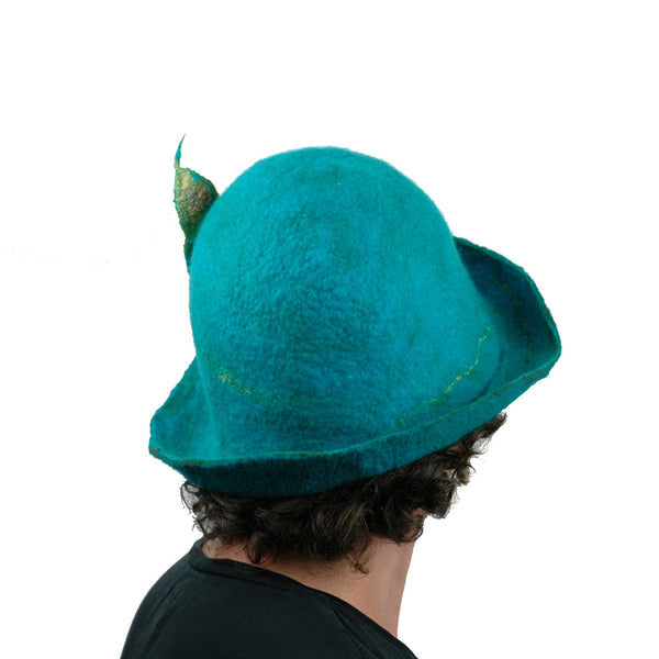 Felted Turquoise Blue Bowler with Stylized Peacock Feather - back view