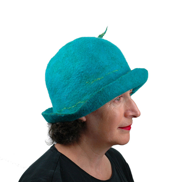 Felted Turquoise Blue Bowler with Stylized Peacock Feather - side view