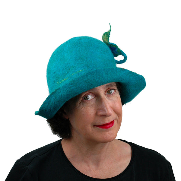 Felted Turquoise Blue Bowler with Stylized Peacock Feather - front view
