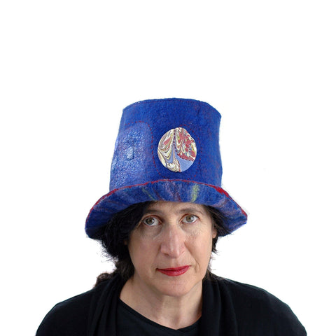 Blue Pilgrim Top Hat with Brim - front view