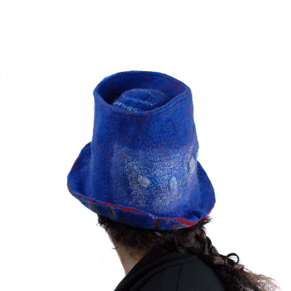 Blue Pilgrim Top Hat with Brim - Back view