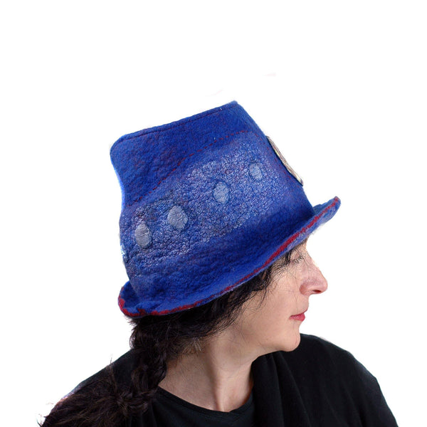 Blue Pilgrim Top Hat with Brim - another side view