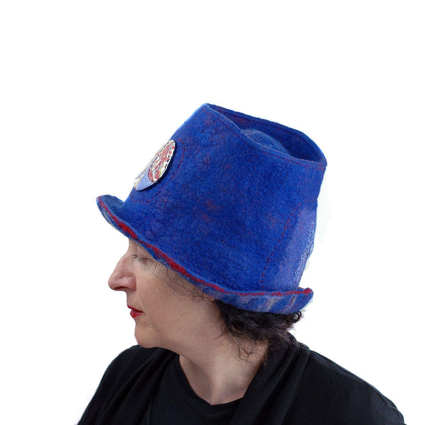 Blue Pilgrim Top Hat with Brim - Left side view