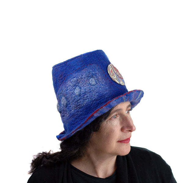 Blue Pilgrim Top Hat with Brim - side view