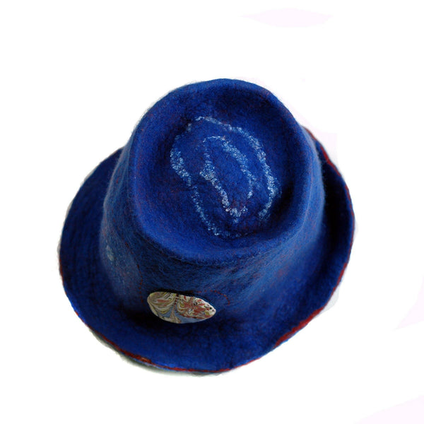 Blue Pilgrim Top Hat with Brim - top view