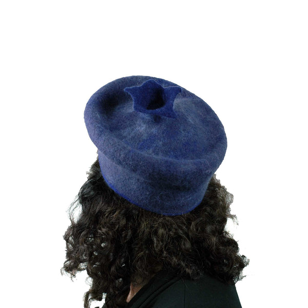 Felted Blueberry Beret - back view