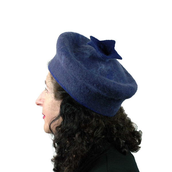 Felted Blueberry Beret - side view