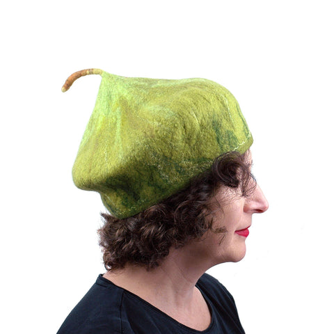 Felted Green Fig Hat - side view