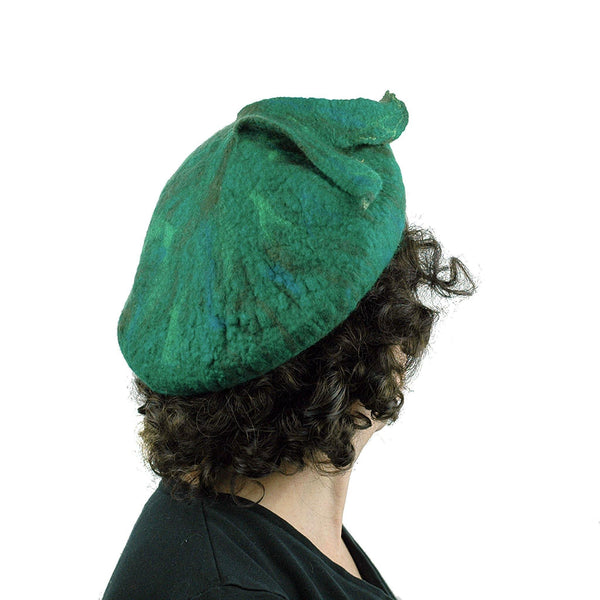 Felted Green Fishtail Beret - back view