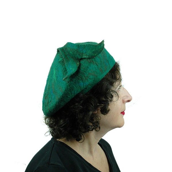 Felted Green Fishtail Beret - side view