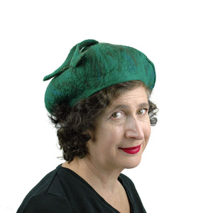 Felted Green Fishtail Beret - threequarters view