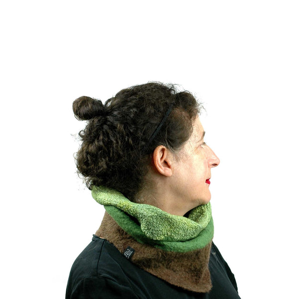 Felted Kiwi Neck Cowl worn with inside showing on outside.