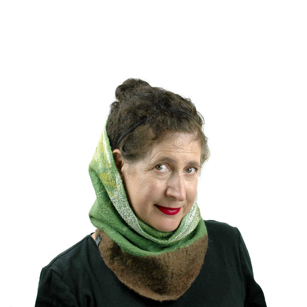 Felted Kiwi Neck Cowl wornup so head emerges from it like a turtle.