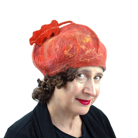 Felted Orange Beret with Oakleaf - threequartersview