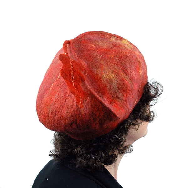 Orange Felted Beret with Oakleaf -backview