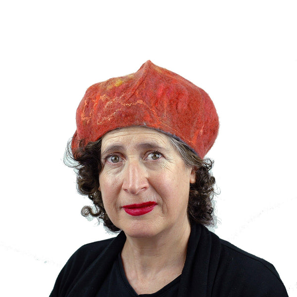 Orange Felted Beret with Oakleaf -frontview