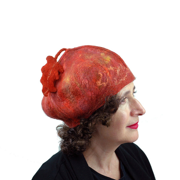 Orange Felted Beret with Oakleaf - sideview