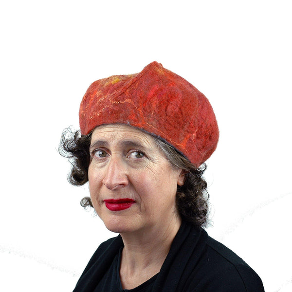 Orange Felted Beret with Oakleaf -threequartersview