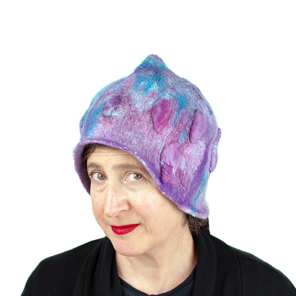 Felted Pixie Cloche in Purple and Turquoise - three quarters view