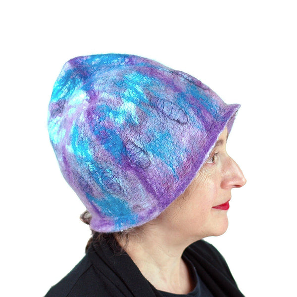 Felted Pixie Cloche in Purple and Turquoise - side view
