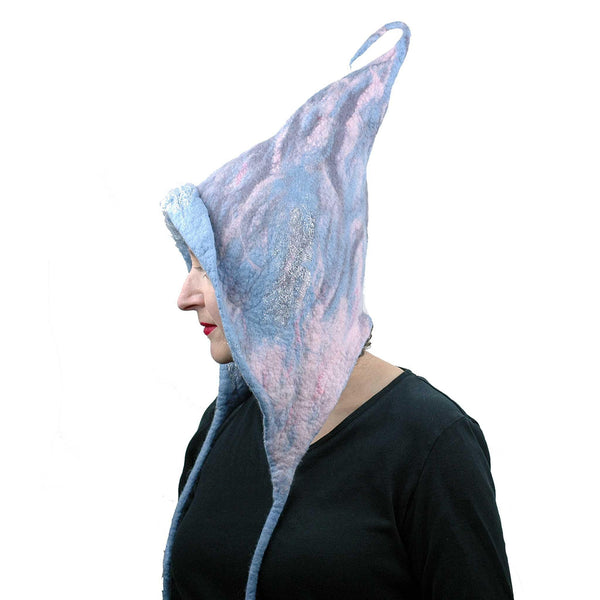 Felted Pixie Hood in Soft Colors - side view