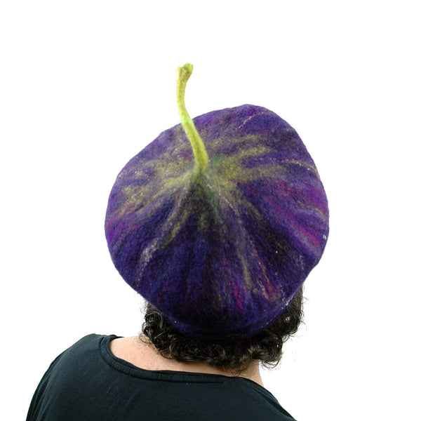 Felted Purple Fig Beret Large Size - back view