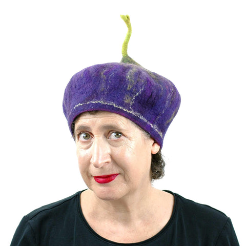 Felted Purple Fig Beret Large Size - front view