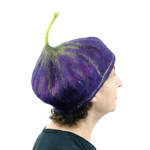 Felted Purple Fig Beret Large Size - side back view
