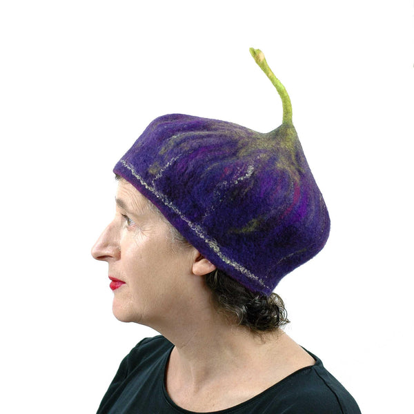 Felted Purple Fig Beret Large Size - side view