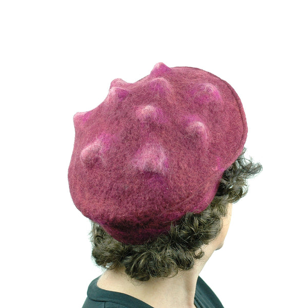 Felted Raspberry Beret - back view