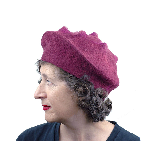 Felted Raspberry Beret - side view